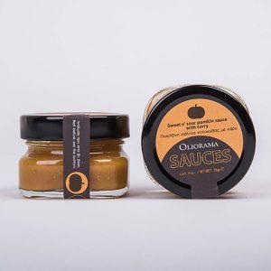 Oliorama Πύργος Γλυκόξυνη σάλτσα κίτρινης κολοκύθας με κάρυ